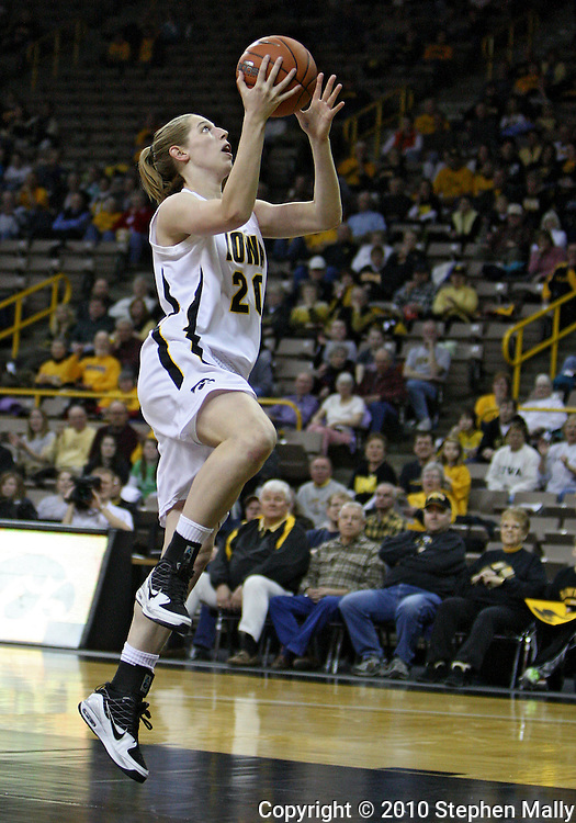 February 18, 2010: Iowa forward Kelly Krei (20) puts up a shot during the first half of the NCAA women's basketball game at Carver-Hawkeye Arena in Iowa City, Iowa on February 18, 2010. Iowa defeated Minnesota 75-54.