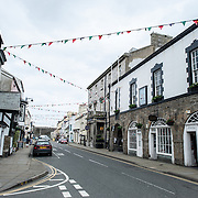 A main street in Beaumaris on the island of Anglesey of the north coast of Wales, UK.