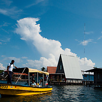 Water taxis from Colon Island in Bocas del Toro, Panama.