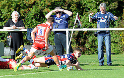 Auguy Slowik of Bristol United scores a try against Gloucester United - Mandatory by-line: Paul Knight/JMP - 02/10/2016 - RUGBY - Hyde Park - Taunton, England - Bristol United v Gloucester United - Aviva A League