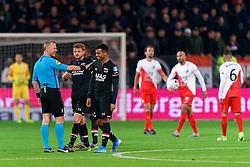 23-11-2019 NED: FC Utrecht - AZ Alkmaar, Utrecht<br /> Round 14 / Referee Bjorn Kuipers, Fredrik Midtsjø #6 of AZ Alkmaar, Zakaria Aboukhlal #17 of AZ Alkmaar