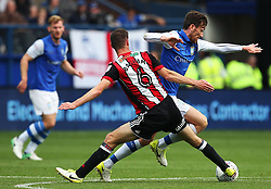 Steven Fletcher of Sheffield Wednesday takes on Chris Basham of Sheffield United - Mandatory by-line:  Matt McNulty/JMP - 24/09/2017 - FOOTBALL - Hillsborough - Sheffield, England - Sheffield Wednesday v Sheffield United - Sky Bet Championship