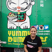 JULY 20, 2018---SAN JUAN, PUERTO RICO----<br /> Xoimar Manning, owner of Yummy Dumplings and The Miramar Food Truck Park, by her food truck.<br /> (Photo by Angel Valentin/Freelance)