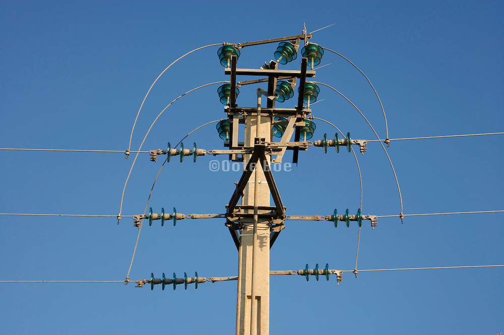 electricity wires with pole and bridge switch
