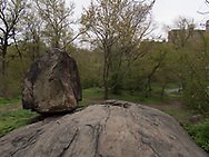 Rock formation on the slope from the Pool to the summit of The Great Hill in Central Park.