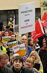 © Licensed to London News Pictures. 31/10/2013.  Bristol, UK.  University staff go on strike over pay and hold a rally outside Senate House at the University of Bristol on Halloween.  Members of UCU, Unison, and Unite are striking after rejecting a 1% pay offer.  They say their pay has declined by 13% since 2008, and that the university can afford to give them a bigger rise.  31 October 2013.<br /> Photo credit : Simon Chapman/LNP