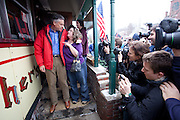 PLYMOUTH, NH - JANUARY 06: Republican presidential candidate and former Utah Gov. Jon Huntsman (L) talks to a supporter, Claire Natola of Meredith, NH during a campaign stop at the Main Street Station Diner on January 07, 2012 in Plymouth, New Hampshire. Natola said she normally votes for Democratic candidates, but plans to vote for Huntsman in the upcoming primary. Huntsman, who skipped the Iowa caucuses on Tuesday, continued to campaign for the upcoming, first in the nation primary election in New Hampshire. (Photo by Matthew Cavanaugh/Getty Images)