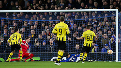 Everton's Kevin Mirallas watches his shot go wide - Photo mandatory by-line: Matt McNulty/JMP - Mobile: 07966 386802 - 26/02/2015 - SPORT - Football - Liverpool - Goodison Park - Everton v Young Boys - UEFA EUROPA LEAGUE ROUND OF 32 SECOND LEG