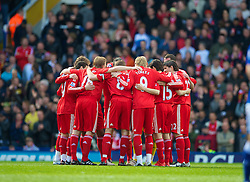 BIRMINGHAM, ENGLAND - Sunday, April 4, 2010: Liverpool players before the Premiership match against Birmingham City at St Andrews. (Photo by David Rawcliffe/Propaganda)