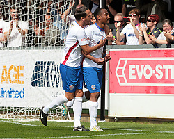 Nabil Shariff celebrates after scoring for AFC Rushden & Diamonds, to take the lead to make it 1 - 0 against Hanwell Town,  AFC Rushden & Diamonds v Hanwell Town at Hayden Road ground on Saturday 12 August 2017..