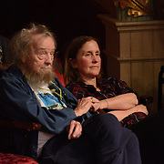 "Poet Donald Hall and a companion listen to Ira Glass, Monica Bill Barnes, and Anna Bass performing in ""Three Acts, Two Dancers, One Radio Host""l at The Music Hall in Portsmouth, NH. April 2016"