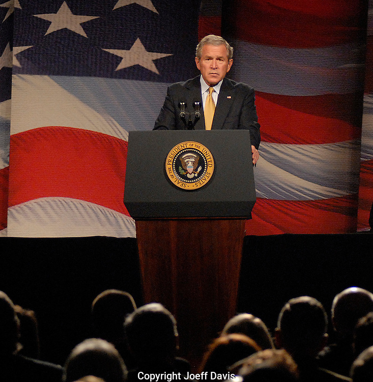 ATLANTA, GA - September 7, 2006:  President George W. Bush discusses progress in the Global War on Terror at the Cobb Galleria Centre in Atlanta.
