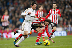 22.01.2012, Santiago Bernabeu Stadion, Madrid, ESP, Primera Division, Real Madrid vs Athletic Bilbao, 1. Spieltag, Nachtrag, im Bild Real Madrid's Kaka and Athletic de Bilbao's Fernando Amorebieta // during the football match of spanish 'primera divison' league, 1th round, supplement, between Real Madrid and Athletic Bilbao at Santiago Bernabeu stadium, Madrid, Spain on 2012/01/22. EXPA Pictures © 2012, PhotoCredit: EXPA/ Alterphotos/ Cesar Cebolla..***** ATTENTION - OUT OF ESP and SUI *****