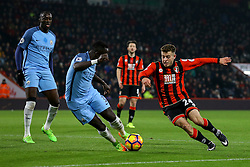 Ryan Fraser of Bournemouth on the attack, putting pressure on Bacary Sagna of Manchester City - Mandatory by-line: Jason Brown/JMP - 13/02/2017 - FOOTBALL - Vitality Stadium - Bournemouth, England - Bournemouth v Manchester City - Premier League