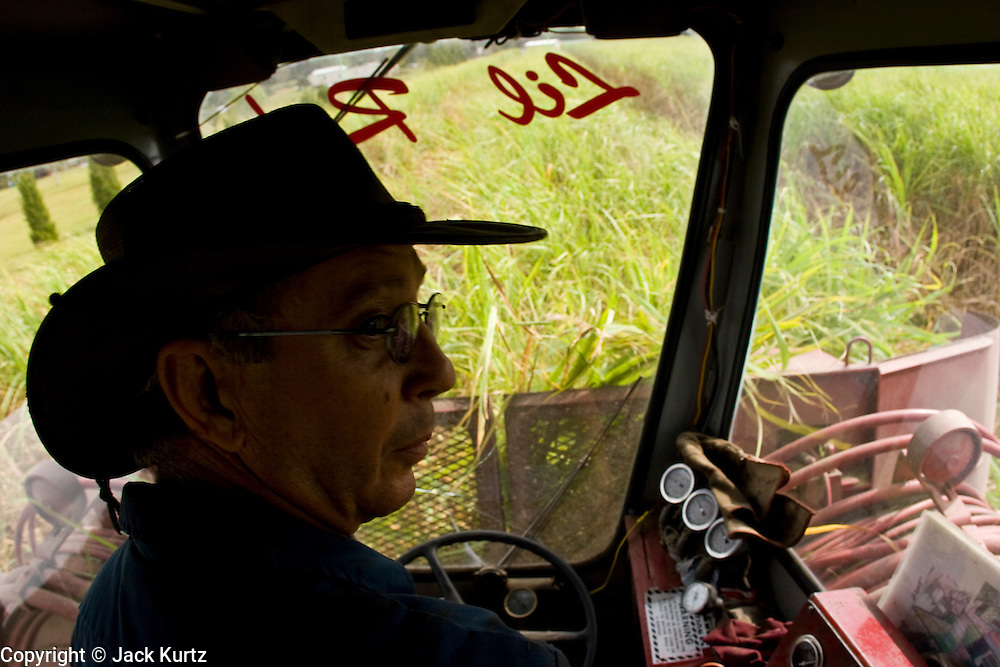 14 NOVEMBER 2005 - FRANKLIN, LA:  JESSE BREAUX operates his cane cutter while another cane cutter passes him on his sugar cane farm near Franklin, Louisiana during the 2005 sugar cane harvest. Breaux sells his cane through the St. Mary Sugar Co-op in St. Mary Parish. Louisiana is one of the leading sugar cane producing states in the US and the economy in southern Louisiana, especially St. Mary and Iberia Parishes, is built around the cultivation of sugar. Sugar growers in the area are concerned that trade officials will eliminate sugar price supports during upcoming trade talks for the proposed Free Trade Area of the Americas (FTAA). They say elimination of price supports will devastate sugar growers in the US and the local economies of sugar growing areas. They also say it will ultimately lead to higher sugar prices for US consumers.  PHOTO BY JACK KURTZ