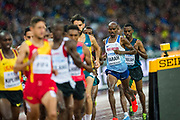 Refugee athlete Kadar Omar Abdullahi competes in the 5000m men's heats at the 2017 IAAF World Athletics Championships at the Queen Elizabeth Olympic Stadium in London.