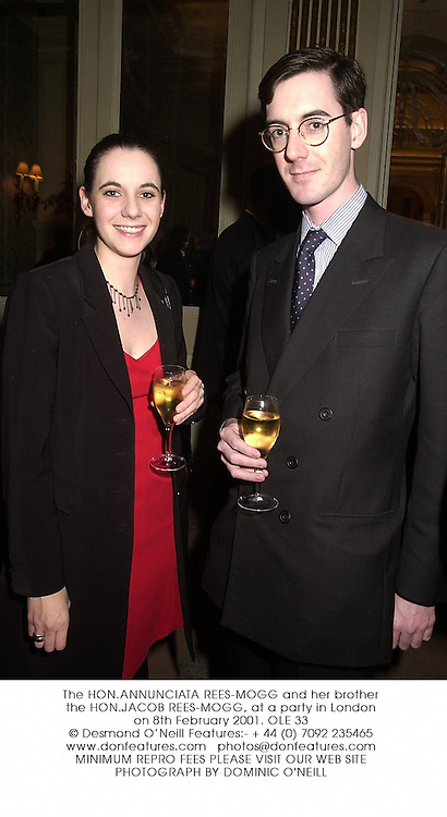 The HON.ANNUNCIATA REES-MOGG and her brother the HON.JACOB REES-MOGG, at a party in London on 8th February 2001.OLE 33