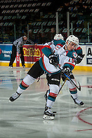 KELOWNA, CANADA - JANUARY 7: Dillon Dube #19 of the Kelowna Rockets warms up against the Kamloops Blazers on January 7, 2017 at Prospera Place in Kelowna, British Columbia, Canada.  (Photo by Marissa Baecker/Shoot the Breeze)  *** Local Caption ***
