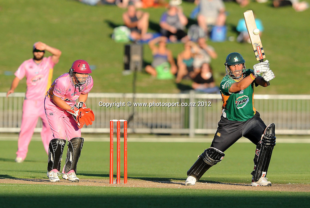 Central Stag's Mathew Sinclair plays a shot in the HRV Twenty20 Cricket match between the Central Stags and Northern Knights at McLean Park, Napier, New Zealand. Saturday 14 January 2012. Photo: Kerry Marshall / photosport.co.nz