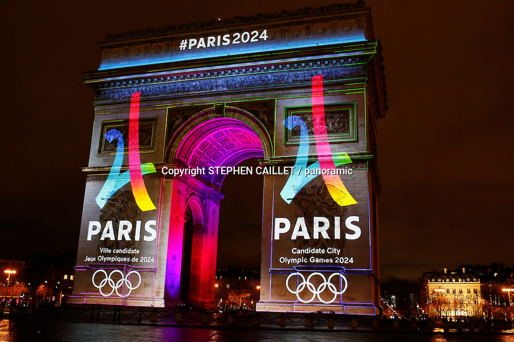 Projection logo Paris 2024 Olympics on the triumphal arch - launching the Paris bid for the organization of the Olympic Games