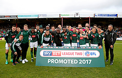 Free to use courtesy of SkyBet - Plymouth Argyle players celebrate after achieving promotion to SkyBet League One - Mandatory by-line: Matt McNulty/JMP - 06/05/2017 - FOOTBALL - Blundell Park - Cleethorpes, England - Grimsby Town v Plymouth Argyle - Sky Bet League Two