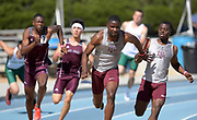 Apr 14, 2018; Los Angeles, CA, USA; Bryce Deadmon takes the handoff from Seth Page on the anchor of the Texas A&M 4 x 100m relay during the Rafer Johnson/Jackie joyner-Kersee Invitational at Drake Stadium.