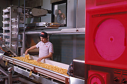 snack Food manufacturing industiral plant workers oversee potato chips