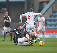 Dundee&rsquo;s Marcus Haber tackles Ross County's James O'Brien - Dundee v Ross County, in the Ladbrokes Scottish Premiership at Dens Park, Dundee, Photo: David Young<br /> <br />  - &copy; David Young - www.davidyoungphoto.co.uk - email: davidyoungphoto@gmail.com