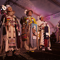 USA, Washington, Seattle, Elderly Native American women perform traditional dance at Salmon Homecoming Festival