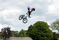 © Licensed to London News Pictures.  09/07/2017; Bath & West Showground, Somerset, UK. NASS, National Action Sports Show festival. The finals of the Dirt Competition, which was won by JACK CLARK (pictured). The world's leading BMX and skate athletes will compete in the West Country this weekend as the IBMXFF World Championships and Europe's leading skate contest return to NASS Festival. The annual action sport and music festival, which takes place on the 6th – 9th July near Bristol will host the BMX World Championships for the second year running, after the games returned to the UK for the first time in 28 years last year. The event will be one of the largest global BMX freestyle and skate events of the year with more than 450 professional and amateur athletes from over 40 countries heading to the festival. Earlier this month it was announced that BMX Freestyle has been added to the programme of the Tokyo 2020 Olympic Games highlighting the growth and incredible standard of this sport. Olympics hopefuls and reigning BMX Champions Logan Martin, Vince Byron and Nick Bruce will all return to defend their titles across Pro Park, Vert and Dirt. The competition will be hosted by BMX's greatest legend, Mat Hoffman. Picture credit : Simon Chapman/LNP