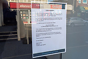 Estate Agents sign restricting access Shops, bars, pubs, closures due to the Covid_19 Coronavirus in Leicester, United Kingdom on 22 March 2020.