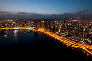 Aerial  skyline view of Panama City at sunset. Panama province, Panama, Central America.