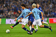 Leroy Sane (19) of Manchester City on the attack during the Carabao Cup Final match between Chelsea and Manchester City at Wembley Stadium, London, England on 24 February 2019.
