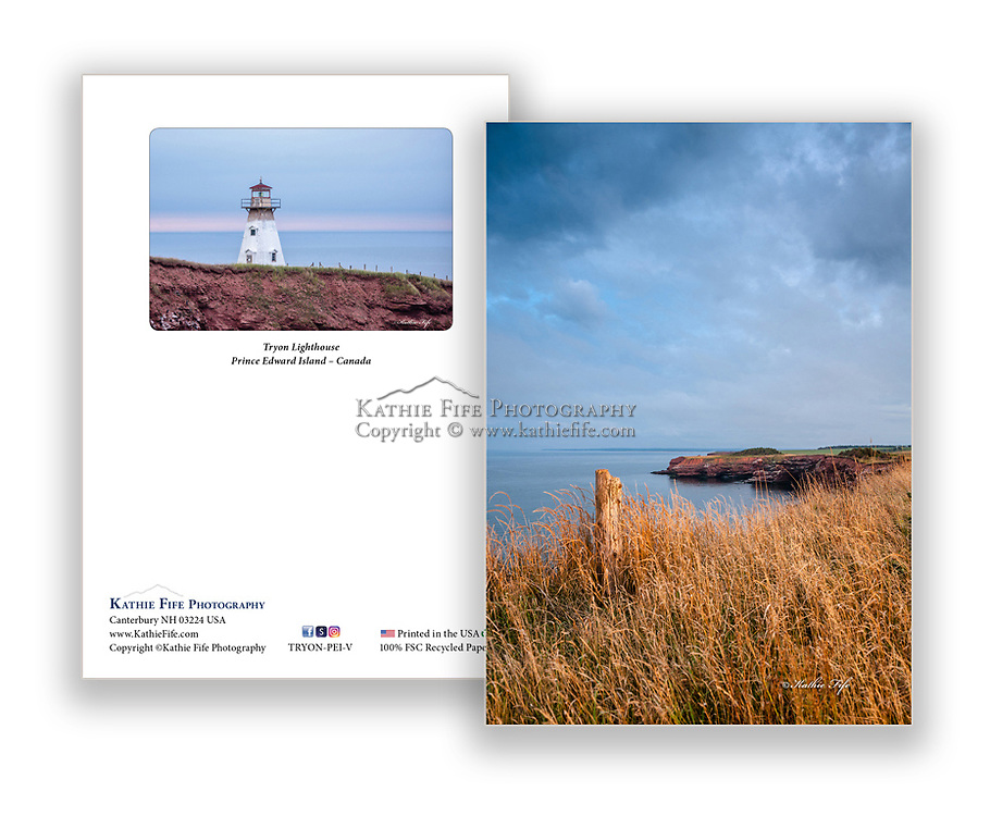 Tryon Lighthouse Prince Edward Island Canada<br /> 5x7 Greeting Card 100% Recycled Paper<br /> inside has a background image of the lighthouse
