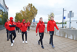 VIENNA, AUSTRIA - Thursday, October 6, 2016: Wales' James Collins, Neil Taylor, James Chester and Sam Vokes during a pre-match walk at the Hilton Danube Waterfront Hotel ahead of the 2018 FIFA World Cup Qualifying Group D match against Austria. (Pic by David Rawcliffe/Propaganda)