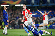 Slavia Prague's Petr Ševčík (23) celebrates his goal 4-3 during the Europa League quarter-final, leg 2 of 2 match between Chelsea and Slavia Prague at Stamford Bridge, London, England on 18 April 2019.