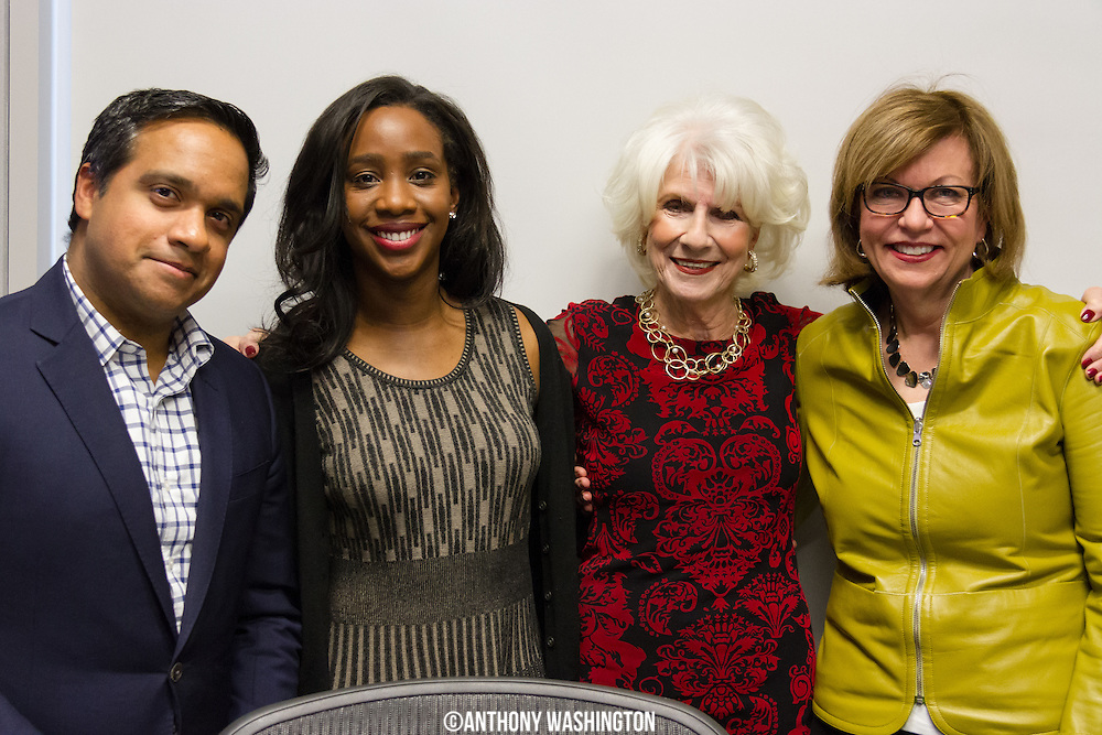 From left to right: Manu Raju, senior political reporter for CNN, Abby Phillip, political reporter for The Washington Post, Diane Rehm, host of The Diane Rehm Show, and Susan Page, Washington bureau chief of USA Today pose for a picture following the final Friday News Roundup on The Diane Rehm Show on Friday, December 23, 2017 at WAMU 88.5 in Washington, DC.
