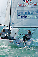 Anna Tunnicliffe, Molly Vandemoer and Debbie Capozzi rounding the mark in the Women's Match Racing event at the Miami Olympic Classes Regatta