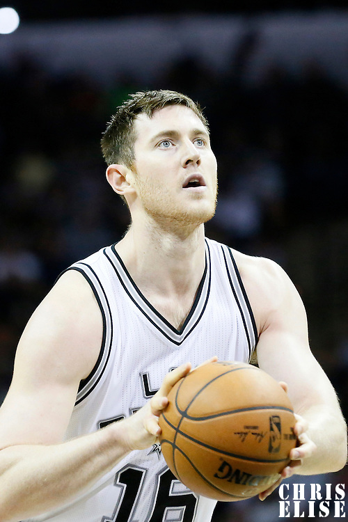 03 April 2015: San Antonio Spurs center Aron Baynes (16) is seen at the free throw line during the San Antonio Spurs 123-93 victory over the Denver Nuggets , at the AT&T Center, San Antonio, Texas, USA.
