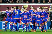 ROTTERDAM - SBV Excelsior - Feyenoord , Voetbal , Seizoen 2015/2016 , Eredivisie , Stadion Woudestein , spelers vieren de 0-1 van Speler van Feyenoord Dirk Kuyt 28-11-2015 ,