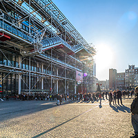 People queueing to visit the Pompidou Center, Paris, France