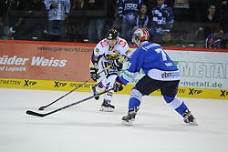 17.10.2014, Helios Arena, Schwenningen, GER, DEL, Schwenninger Wild Wings vs Krefeld Pinguine, 11. Runde, im Bild (l.) Norman Hauner (Krefeld Pinguine) (r.) Sascha Goc (Schwenninger Wild Wings) // during Germans DEL Icehockey League 11th round match between Schwenninger Wild Wings and Krefeld Pinguine at the Helios Arena in Schwenningen, Germany on 2014/10/17. EXPA Pictures © 2014, PhotoCredit: EXPA/ Eibner-Pressefoto/ Laegler<br /> <br /> *****ATTENTION - OUT of GER*****