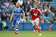 Sheffield Wednesday midfielder Barry Bannan (41)   is closed down by Nottingham Forest midfielder Henri Lansbury (10)  during the EFL Sky Bet Championship match between Sheffield Wednesday and Nottingham Forest at Hillsborough, Sheffield, England on 24 September 2016. Photo by Simon Davies.