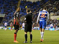 Bournemouth's Callum Wilson gets booked. - Photo mandatory by-line: Alex James/JMP - Mobile: 07966 386802 - 14/04/2015 - SPORT - Football - Reading - Madejski Stadium - Reading v AFC Bournemouth - Sky Bet Championship