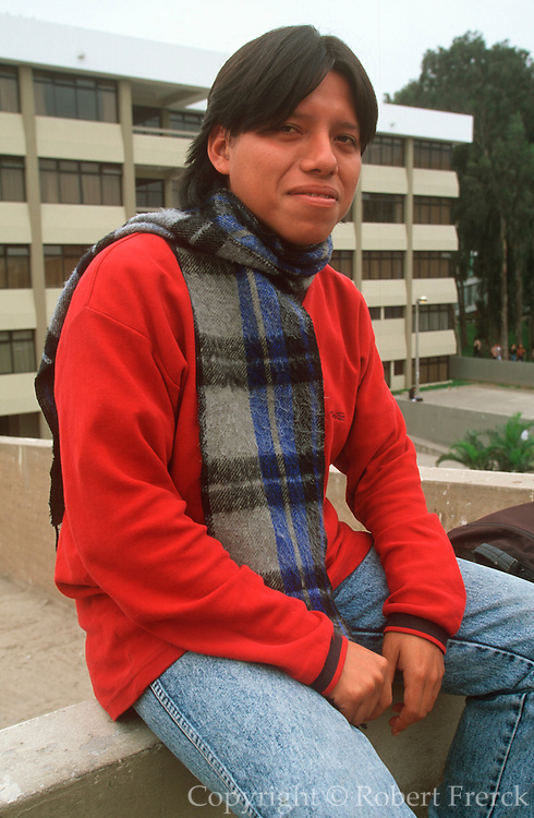 PERU, LIMA, EDUCATION students between classes on the campus of La Universidad Nacional de San Marcos, Peru's largest national university