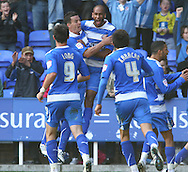 Jimmy Kebe (14) of Reading celebrates scoring their first goal during the Npower Championship match between Reading and Barnsley on Saturday 25th September 2010 at the Madejski Stadium, Reading, UK. (Photo by Andrew Tobin/Focus Images)