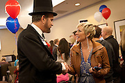Abraham Lincoln impersonator David Moyar talks with a Republican supporter at the Utah Republican Party results party, Tuesday, Nov. 6, 2012.
