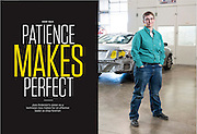 Editorial photography of automotive shop manager for feature article. Commercial advertising and editorial photographer Jason Jones, in Austin Texas.