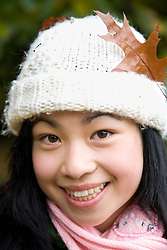 Close up of young teen with woolly hat