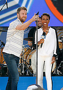 Charles Kelley and Robin Roberts appear during the Good Morning America Concert Series at Rumsey Playfield in New York City, New York on May 23, 2014.